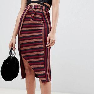 Asos design striped midi pencil skirt